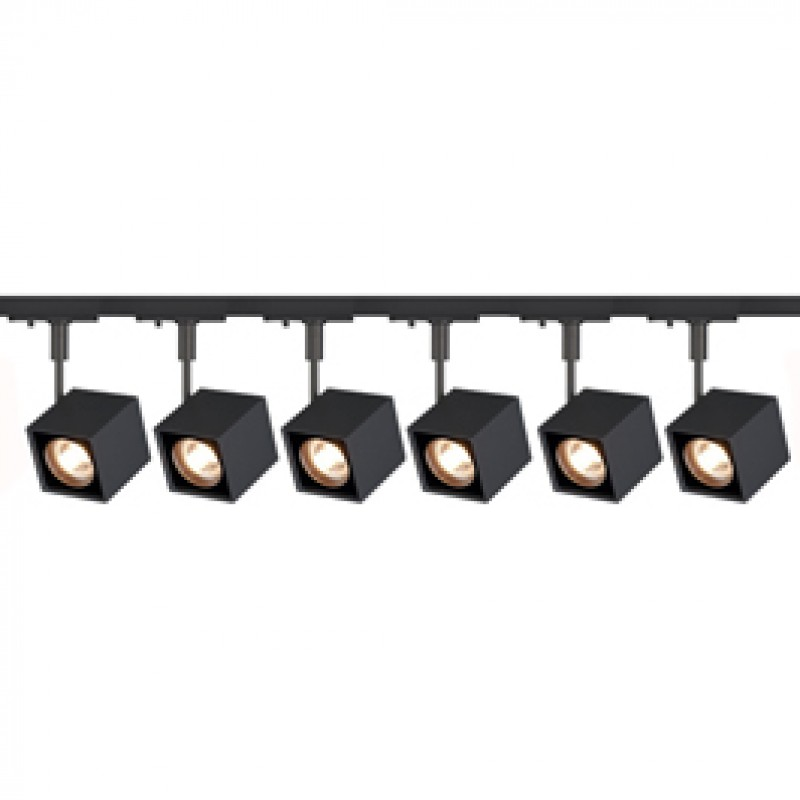 Jcc 4xgu10 Track Lighting Kit: SLV 143350TK6 Altra Dice 50W 6 Light Track Kit Black SLV