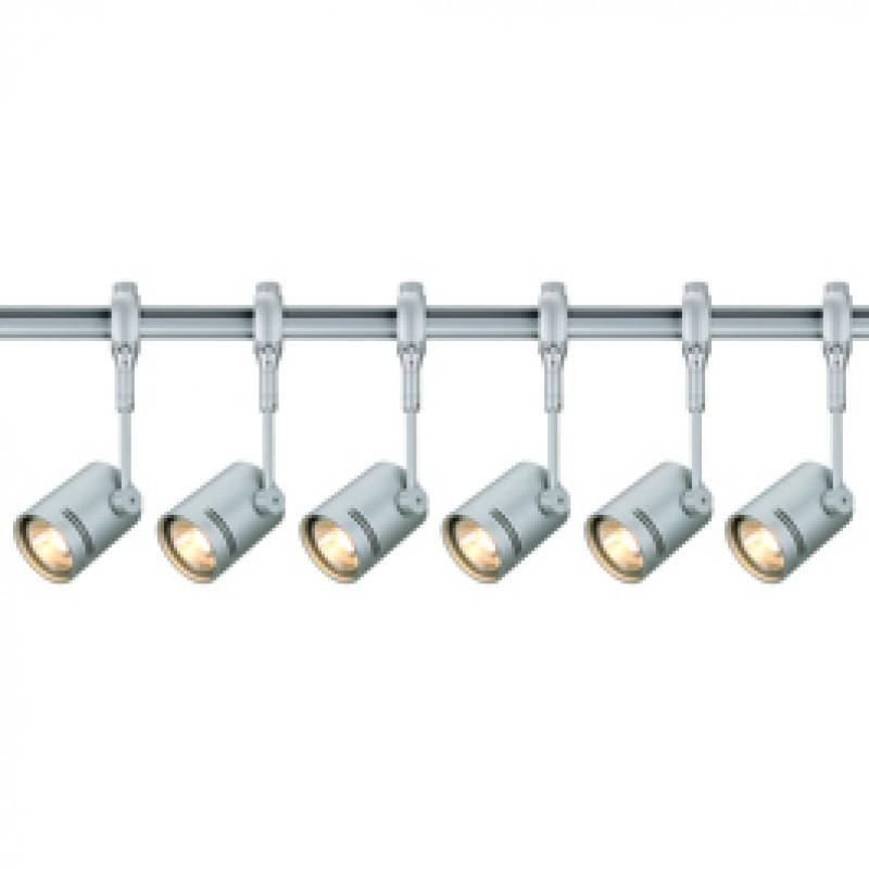 Jcc 4xgu10 Track Lighting Kit: SLV 184452TK6 Bima 1 50W 6 Light Track Kit Silver Grey SLV