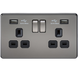 Screwless Switches & Sockets Black Nickel