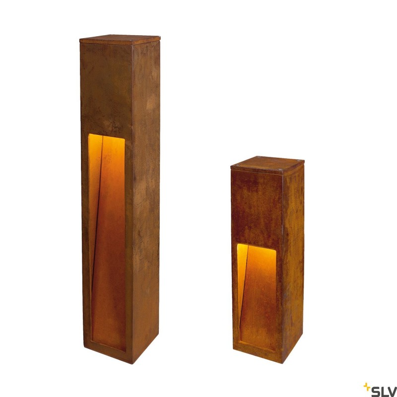 Slv 229410 Rusty Slot 50 11w Rusted Iron Outdoor Bollard