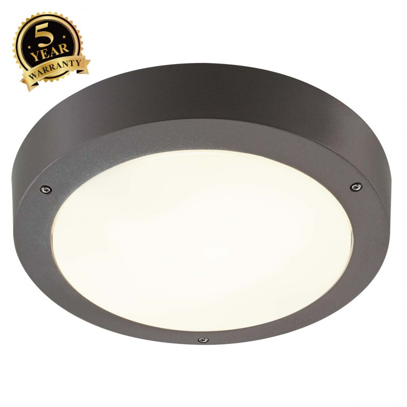 Outdoor Motion Activated Ceiling Light: SLV 232425 Dragan Sensor 24W Anthracite Outdoor Ceiling