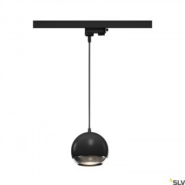 SLV LIGHT EYE 150 QPAR111 pendant for 3-circuit 240V track, black/chrome, max. 75W, incl. 3-circuit adapter 1000709