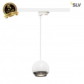 SLV LIGHT EYE 150 QPAR111 pendant for 3-circuit 240V track, white/chrome, max. 75W, incl. 3-circuit adapter 1000710