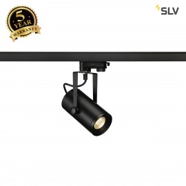 SLV EURO SPOT LED, small, 9W COB LED, black, 36°, 3000K, incl. 3-circuit adapter 1001367