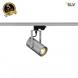 SLV EURO SPOT LED, small, 9W COB LED, silver-grey, 36, 3000K, incl. 3-circuit adapter 1001369