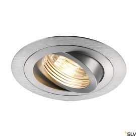 SLV 111360 NEW TRIA GU10 ROUND downlight,alu brushed, max. 50W, incl.clip springs
