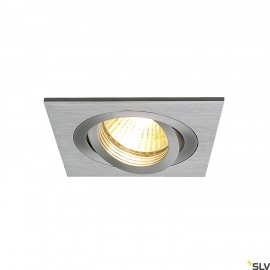 SLV 111361 NEW TRIA I GU10 downlight,square, alu brushed, max. 50W,incl. clip springs