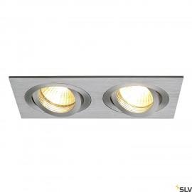 SLV 111362 NEW TRIA II GU10 downlight,rectangular, alu brushed, max.2x50W, incl. clip springs