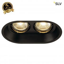 SLV 113110 HORN 2 TURNO GU10 recessedceiling light, oval, mattblack, max. 2x50W