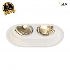 SLV 113111 HORN 2 TURNO GU10 recessedceiling light, oval, mattwhite, max. 2x50W