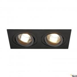 SLV 113492 NEW TRIA II GU10 downlight,rectangular, matt black, max.2x50W, incl. clip springs