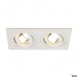 SLV 113512 NEW TRIA II GU10 downlight,rectangular, matt white, max.2x50W, incl. clip springs