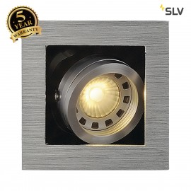 SLV 115516 KADUX 1 GU10 downlight, square, alu brushed, max. 50W