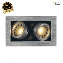 SLV 115526 KADUX 2 GU10 downlight, square, alu brushed, max. 2x50W