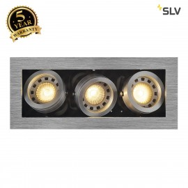 SLV 115536 KADUX 3 GU10 downlight, square, alu brushed, max. 3x50W