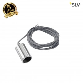 SLV 132696 FITU pendant, A60, round, brushed aluminium, 5m cable with open cable end, max. 60W