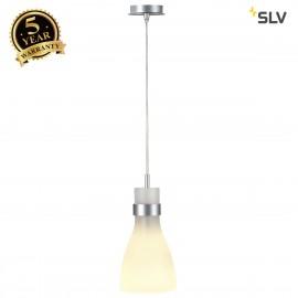 SLV 133464 BIBA III pendant, silver-grey,frosted glass, E14, max. 60W