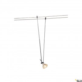 SLV TELESCOPIC, cable luminaire for TENSEO low-voltage cable system, QR-C51, chrome, B/H/T 4.5/21-52/1 cm