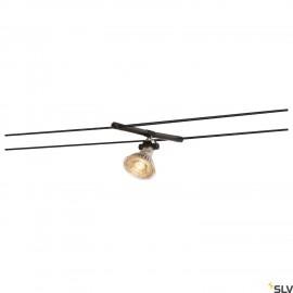 SLV COSMIC, lamp holder for TENSEO low-voltage cable system, QR-C51, black, tiltable, 2 pcs