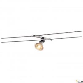 SLV COSMIC, lamp holder for TENSEO low-voltage cable system, QR-C51, chrome, tiltable, 2 pcs