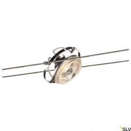 SLV QRB, cable luminaire for TENSEO low-voltage cable system, QR111, tiltable, chrome