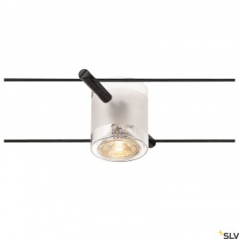SLV COMET, cable luminaire for TENSEO low-voltage cable system, QR-C51, black, semi-frosted glass