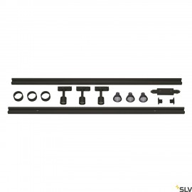 SLV 143190 1-CIRCUIT TRACK SET, 2x 1m,incl. 3x PURI and 3x 4.3W LEDlamp, black