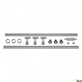 SLV 1-CIRCUIT TRACK SET, 2x 1m, incl. 3x PURI and 3x 4.3W LED lamp, silver-grey 143194