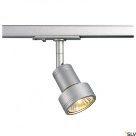 SLV PURI lamp head, silver-grey GU10, max. 50W, incl. 1- circuit adapter 143392