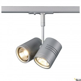 SLV BIMA II lamp head, silver-grey , 2x GU10, max. 2x50W, incl. 1-circuit adapter 143432