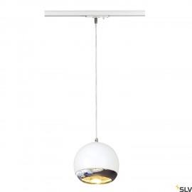 SLV LIGHT EYE ES111 pendant, white/chrome, GU10, max. 75W, incl. 1-circuit adapter 143621