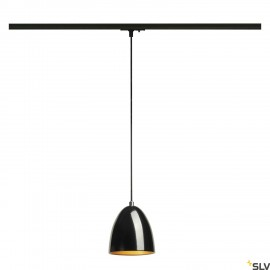 SLV PARA CONE 14 pendant, round, black/gold, GU10, incl. black 1-circuit adapter 143990