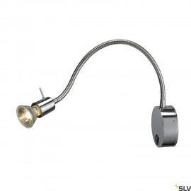 SLV 146692 DIO FLEX PLATE GU10 wall light, chrome, GU10, max. 50W,incl. switch