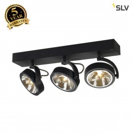 SLV 147270 KALU 3 wall and ceiling light,matt black, 3x QRB111, max.3x 50W