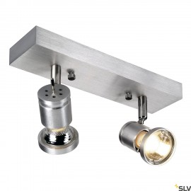 SLV 147442 ASTO II wall and ceiling light, alu brushed, 2x GU10, max.2x 75W