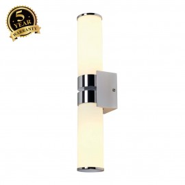 SLV 147542 CAMARA DOUBLE IP44 wall light,chrome, 2x E14, max. 2x 60W