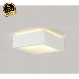 SLV 148002 Ceiling light, GL 104 E27,square, white plaster, max. 2x25W