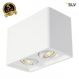 SLV 148052 PLASTRA BOX 2 ceiling light,square, white plaster, 2xGU10,max. 2x35W