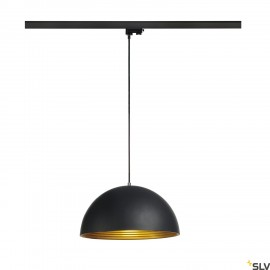 SLV FORCHINI M pendant, 40cm, round, black/gold, E27, with black 3-circuit adapter 153130