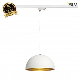 SLV FORCHINI M pendant, 40cm, round, white/gold, E27, with white 3-circuit adapter 153131