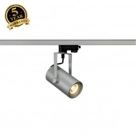 SLV 153804 EURO SPOT LED, small, 9W COBLED, silver-grey, 36°, 3000K,incl. 3-circuit adapter