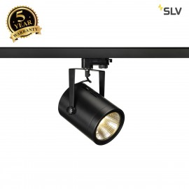 SLV EURO SPOT LED, 20W COB LED, black, 36°, 3000K, incl. 3-circuit adapter 153810