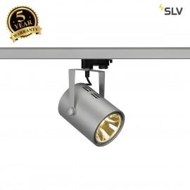 SLV EURO SPOT LED, 20W COB LED, silver-grey, 36°, 3000K, incl. 3-circuit adapter 153814