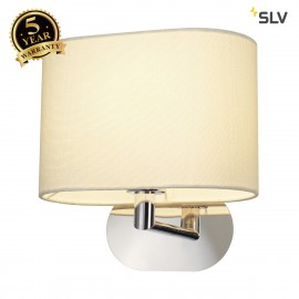 SLV 155861 SOPRANA OVAL wall light, WL-1,white textile, E27, max. 60W