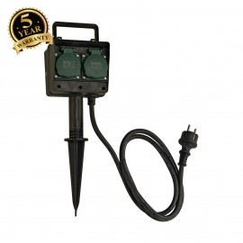 SLV 227001 4-fold garden outlet, IP44,with 1.4m connection lead andshock-proof mains plug