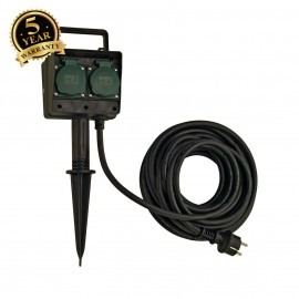 SLV 227002 4-fold garden outlet, IP44,with 10m connection lead andshock-proof mains plug