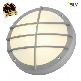 SLV 229084 BULAN GRID wall and ceilinglight, round, silver-grey, E27, max. 2x 25W, PC cover