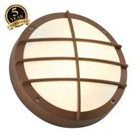 SLV 229087 BULAN GRID wall and ceilinglight, round, rust, E27, max.2x 25W, PC cover