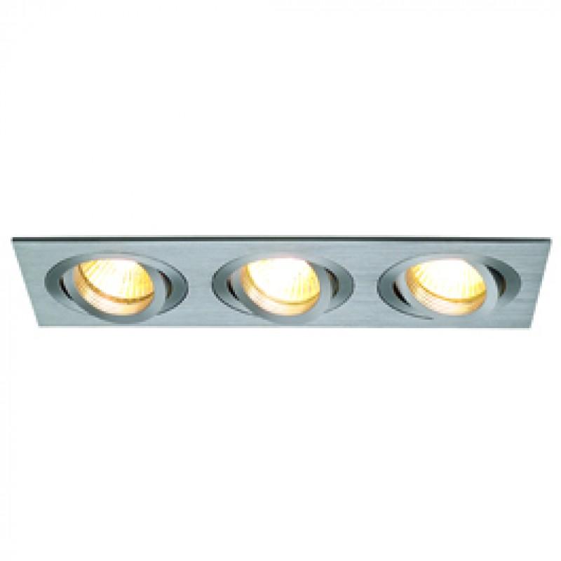 SLV 111353 New Tria MR16 3 Square 3x50W Brushed Aluminium Downlight