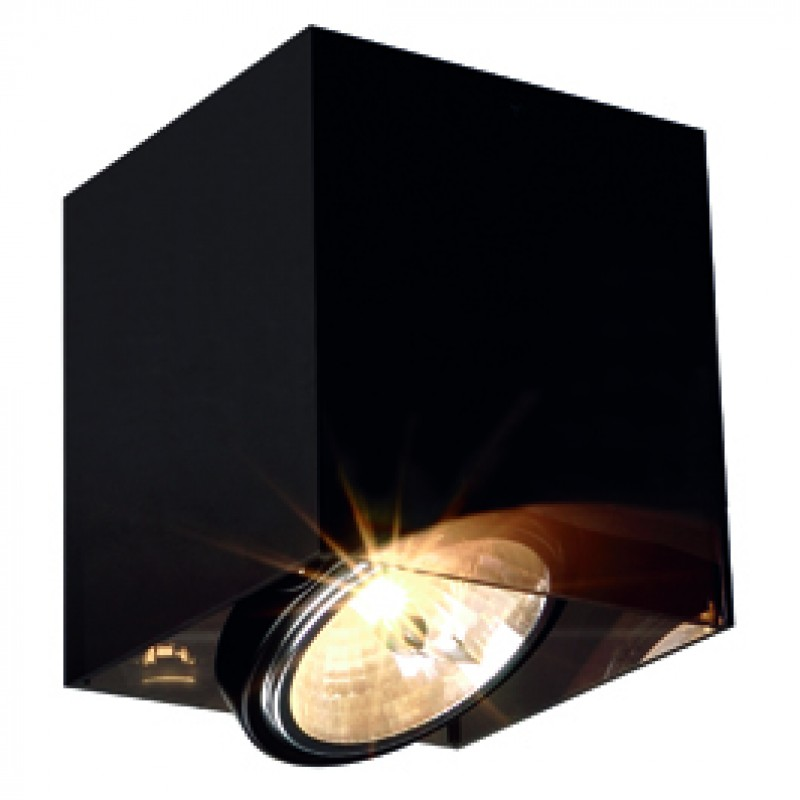 SLV 117211 Acrylic Box QRB111 Single 50W Translucent Black Ceiling Light